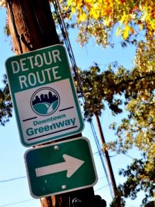 Greensboro Downtown Greenway Detour Sign