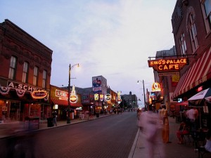 Neon lights and traffic on Beale Street