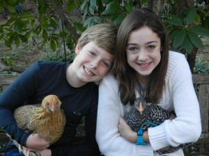 Kids and chickens!