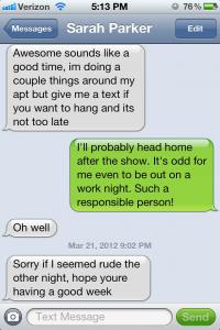 Steven Waffles and Sarah Parker text messages