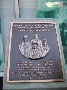 The Greensboro Four plaque